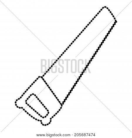 hand saw icon monochrome dotted silhouette vector illustration