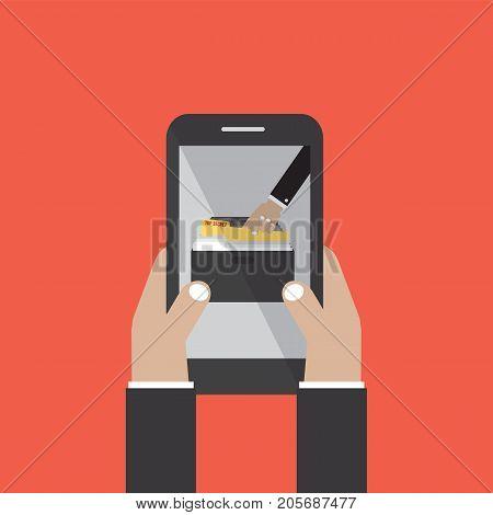 Data Stealing Online On Smartphone. Hacker Concept Vector Illustration. EPS 10