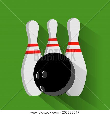 Bowling ball and pin vector set isolated from the background. Icons for a bowling alley or game in a flat style. Symbols active recreation.