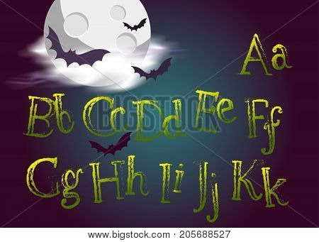 Halloween Typeset. Spooky Vector Font for Halloween Party. Grunge Green Hand Drawn Alphabet. Cartoon Typography for Greeting Card Poster Banner Invitation. Dark Background with Night Moon and Bats.
