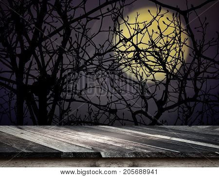 Empty Grunge Plank Wooden Table Top At Spooky Tree And Full Moon With Dead Tree,halloween Holiday Co