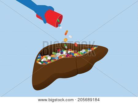 Hand puts many drug into human liver. Illustration about danger of taking medicine overdose.