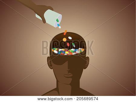 Hand puts medicine into human head. Illustration about drug addiction and brain.
