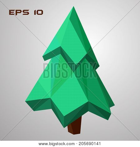 Pine low poly. Green spruce 3d. Geometric tree. Vector illustration. EPS 10