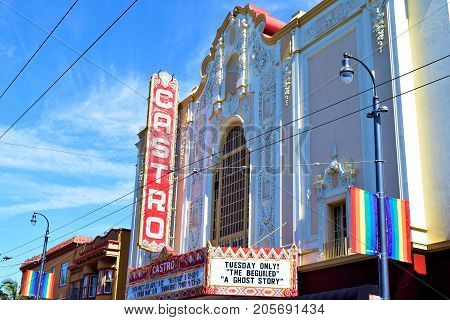 September 19, 2017 in San Francisco, CA:  Castro Theatre built in 1922 and is a registered historical landmark at the Castro District where people can watch movies and live performances amongst elegant Spanish architectural design taken in San Francisco,
