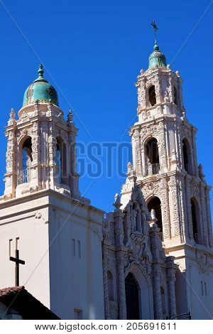 Mission Dolores San Francisco built in 1918 with its large tower domes taken in San Francisco, CA