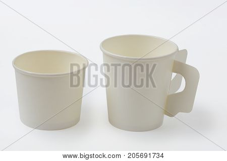 Empty paper coffee cup isolated on white background, clipping path.