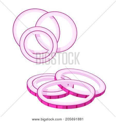 Hamburger ingredient. Red onion rings. Vector illustration cartoon flat icon isolated on white.