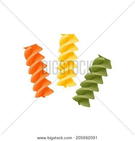 Italian cuisine. Pasta fusilli tricolor - red green yellow. Vector illustration cartoon flat icon isolated on white.
