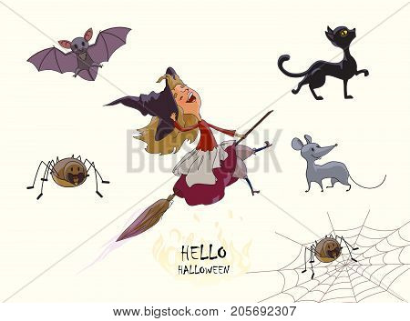 Set of characters for Halloween. Young cute witch flies on broom. Cat spider web bat mouse. Vector illustration of handmade isolated on white background.