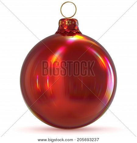 Christmas ball red bauble decoration New Year's Eve winter hanging adornment souvenir. Traditional ornament happy wintertime holidays Merry Xmas symbol closeup. 3d rendering illustration