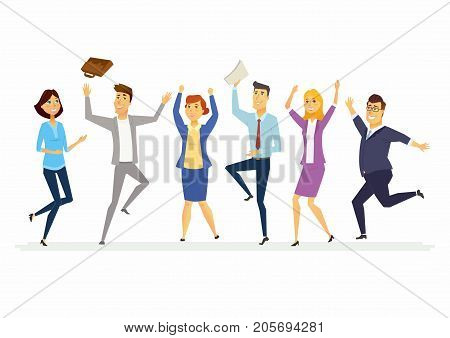 Happy business colleagues - modern cartoon people characters isolated illustration with employees in formal clothes waving hands and jumping with joy