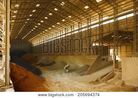 Area for keep mined zinc and other minerals in mine.