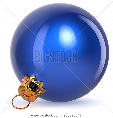 Christmas ball decoration blue New Year's Eve bauble winter hanging adornment souvenir. 3d rendering illustration