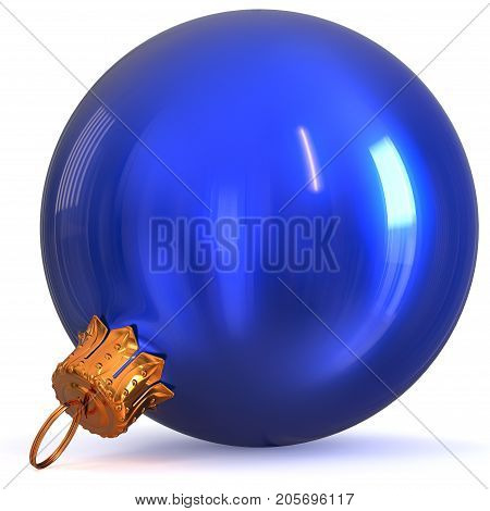 Christmas ball decoration blue New Year's Eve bauble winter hanging adornment souvenir. Traditional ornament happy wintertime holidays Merry Xmas symbol closeup. 3d rendering illustration