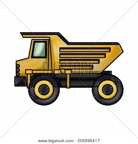 dump truck flat icon in colored crayon silhouette vector illustration