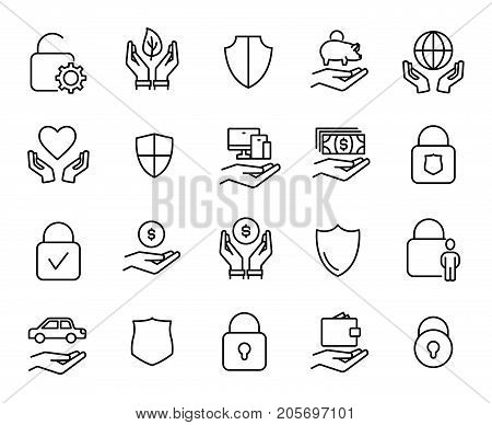 Premium set of safeguard line icons. Simple pictograms pack. Stroke vector illustration on a white background. Modern outline style icons collection.