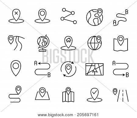 Premium set of route line icons. Simple pictograms pack. Stroke vector illustration on a white background. Modern outline style icons collection.