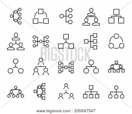 Premium set of hierarchy line icons. Simple pictograms pack. Stroke vector illustration on a white background. Modern outline style icons collection.