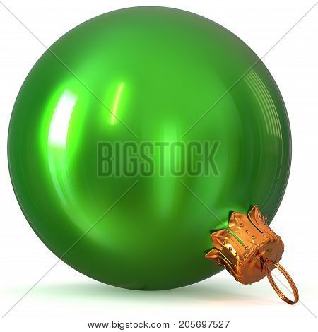 Christmas ball decoration green New Year's Eve bauble winter hanging adornment souvenir. Traditional ornament happy wintertime holidays Merry Xmas symbol closeup. 3d rendering illustration