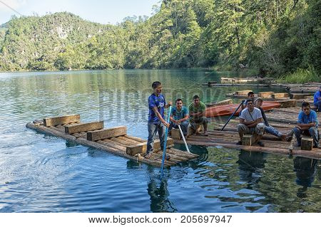 December 22 2014 Lagunas de Montebello National Park Mexico: rafting on the blue water of Cinco Lagos is popular activity with tourists