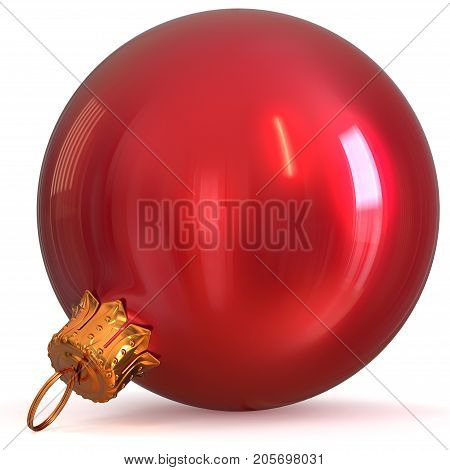 Red Christmas ball bauble decoration New Year's Eve winter hanging adornment souvenir. Traditional ornament happy wintertime holidays Merry Xmas symbol closeup. 3d rendering illustration