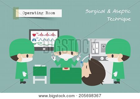 Operating Room ( OR ) . Surgeon Assistant and Anaesthetist operate on patient . Vector .