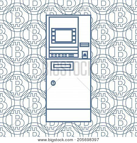 Stylized Icon Of A Colored Automatic Teller Machine Or Atm.