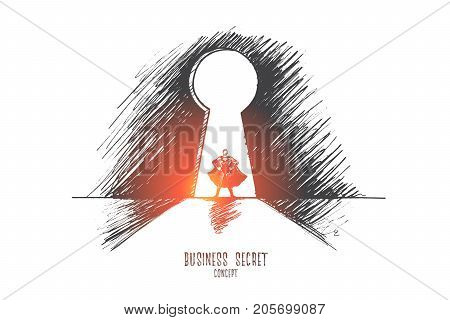 Business secret concept. Hand drawn superman in keyhole. Successful businessman isolated vector illustration.