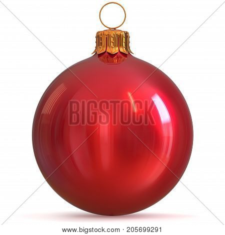 Christmas ball bauble decoration red New Year's Eve winter hanging adornment souvenir. Traditional ornament happy wintertime holidays Merry Xmas symbol closeup. 3d rendering illustration poster