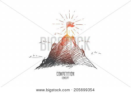 Competition concept. Hand drawn businessmen climbing on mountain. Competition between businessmen isolated vector illustration.