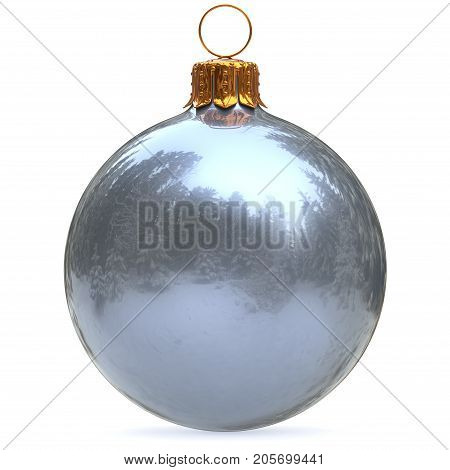 Silver Christmas ball decoration white New Year's Eve bauble winter hanging adornment souvenir chrome. Traditional ornament happy wintertime holidays Merry Xmas symbol. 3d rendering illustration