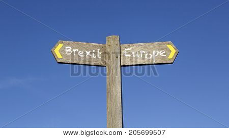 Conceptual Signpost giving the choices of Brixit or Europe against a blue sky background