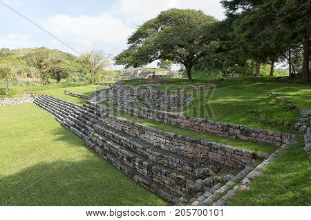 December 23 2014 Lagunas de Montebello National Park Mexico: stone stairs at the Chinkultic ruins built in the Maya classic era
