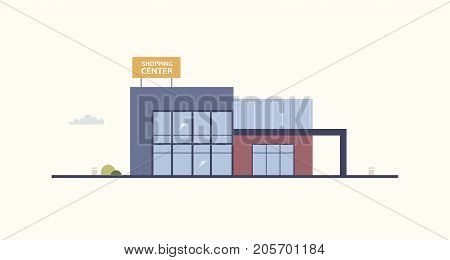 Cartoon building of shopping center or mall with large windows and signboard built in contemporary architectural style. Exterior of department store or shop. Modern urban design. Vector illustration