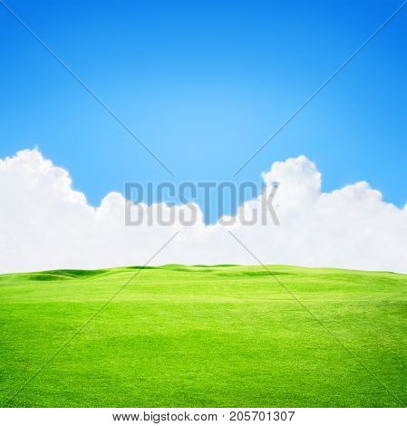 Green golf field under blue sky background