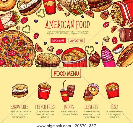 Fast food menu sketch poster or landing page template. Vector fastfood restaurant meals of sandwich, french fries snack or soda and coffee drink, cupcake or donut dessert and pizza or chicken nuggets