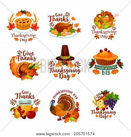 Thanksgiving day icons for seasonal autumn greeting card design. Turkey, fruit pie or maple leaf and oak acorn, mushroom and pumpkin cornucopia harvest, pilgrim hat and wine grape. Vector isolated set