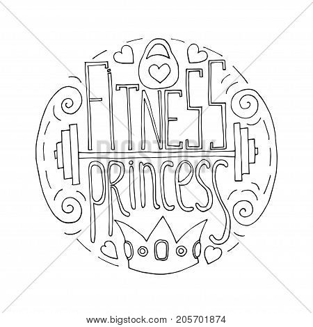 Fitness Princess Hand Drawn Circle