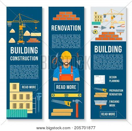 Building and construction banners set of builder work tools. Vector house builder instruments of winch crane, brickwork and concrete trowel or mixer, planning ruler or carpentry saw and hammer
