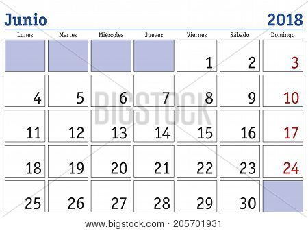 Junio 2018 Wall Calendar Spanish Vector & Photo | Bigstock