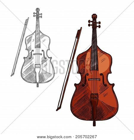 Contrabass musical instrument or violin with bow sketch icon. Vector isolated string music cello or fiddle, violoncello or viola for classic music concert design or orchestra jazz festival label