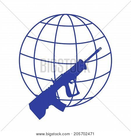 Picture Symbolizing The World Against Weapons: Rifle And Globe