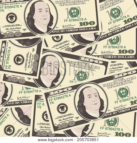 Close up view of American hundred dollar bills. Money background for your business concept. Suitable for wallpaper, backdrop, as element of design. Vector illustration of USA currency.