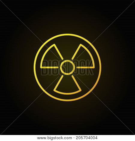 Radiation linear yellow icon. Vector minimal nuclear power symbol or design element in thin line style on dark background