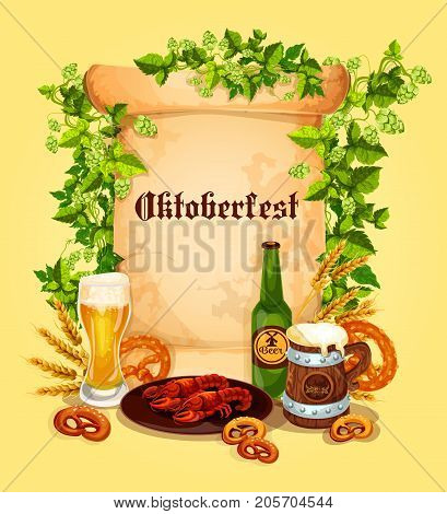 Oktoberfest beer festival poster template. Vector beer mug or glass of ale or pint and traditional German snacks of fish kipper or pretzel and meat grill sausages, hop or barley and wheat ears