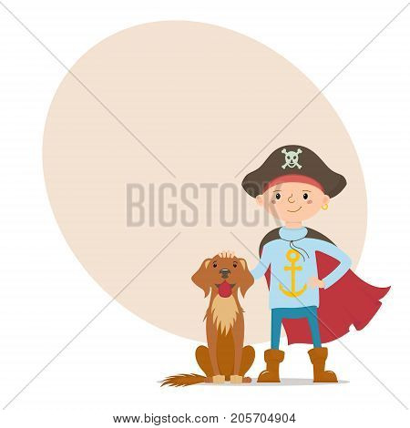Little boy in pirate hat and cape standing with his labrador dog and place for text, cartoon vector illustration isolated on white background. Boy dressed as pirate, full length portrait with his dog