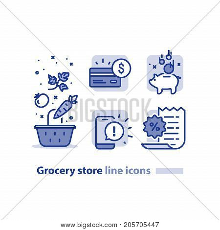 Grocery store line icons, basket and vegetables, earn reward points, loyalty program, cash back card, bonus coupon, phone message notifications, shopping vector illustration