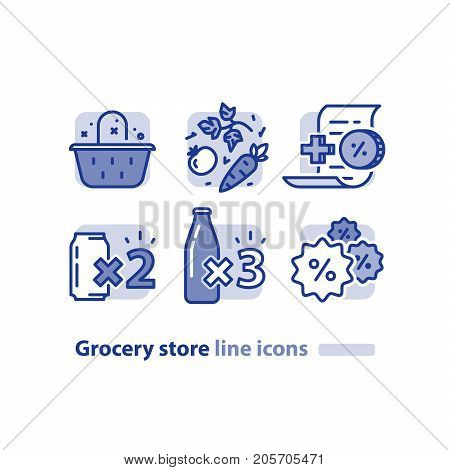 Grocery store line icons, basket and vegetables, earn reward points, loyalty program, buy two cans, three bottles offer, bonus coupon, shopping vector illustration