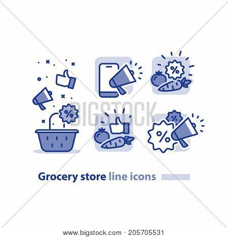 Grocery store basket, vegetables discount, promotion megaphone, sale bonus coupon, good quality products, cheap price offer, low cost tag, vector illustration